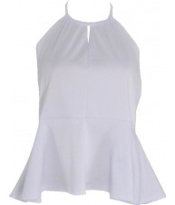 White Peplum Halter Top